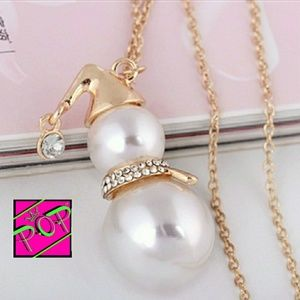 Snowman necklace, gold